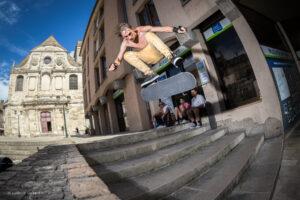 Fragile skateboard kick flip